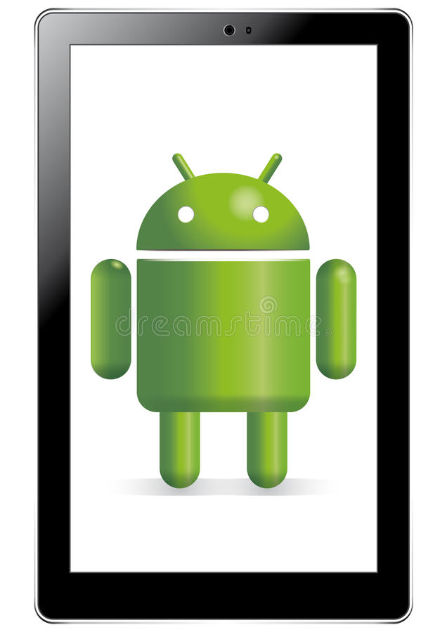 Android robot in tablet. The Google Android character standing in a tablet device vector illustration