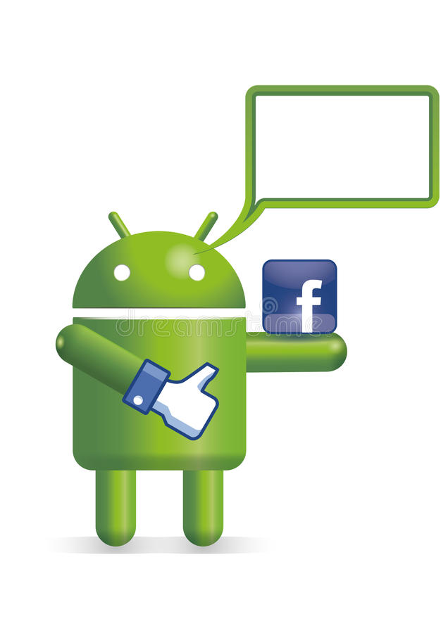 Android robot with text balloon royalty free illustration