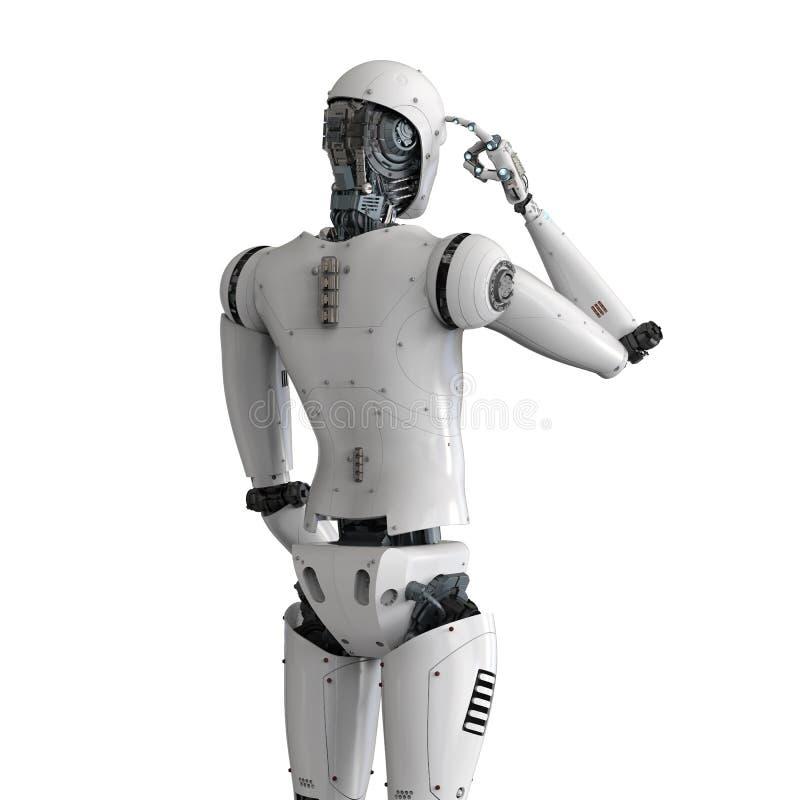 Android robot thinking stock illustration