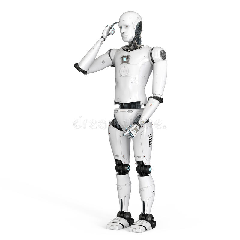 Android robot thinking royalty free illustration