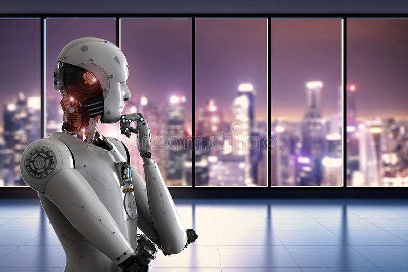 Android robot thinking in office royalty free illustration