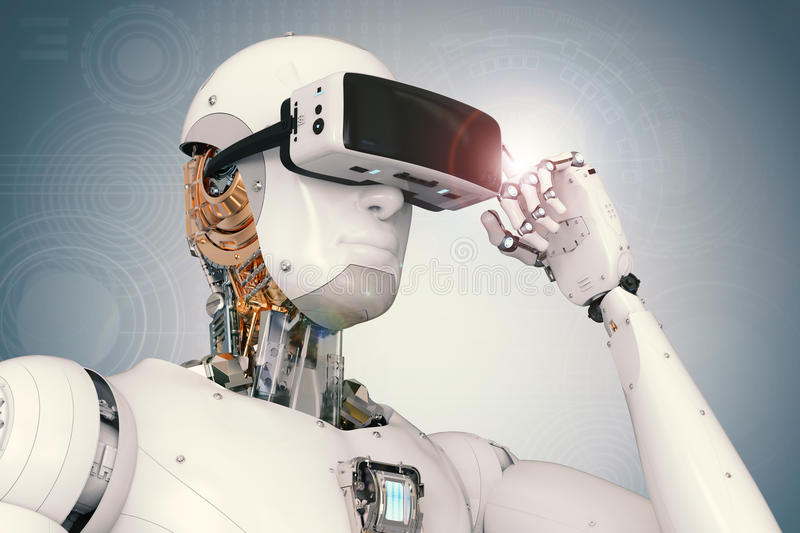 Android robot wearing vr headset royalty free stock photo