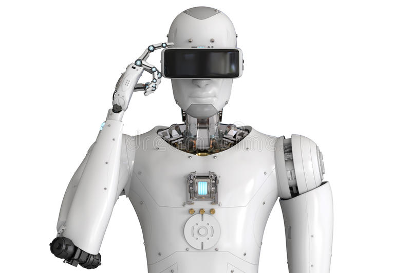Android robot wearing vr headset. 3d rendering android robot wearing vr headset royalty free illustration