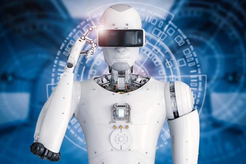 Android robot wearing vr headset stock illustration