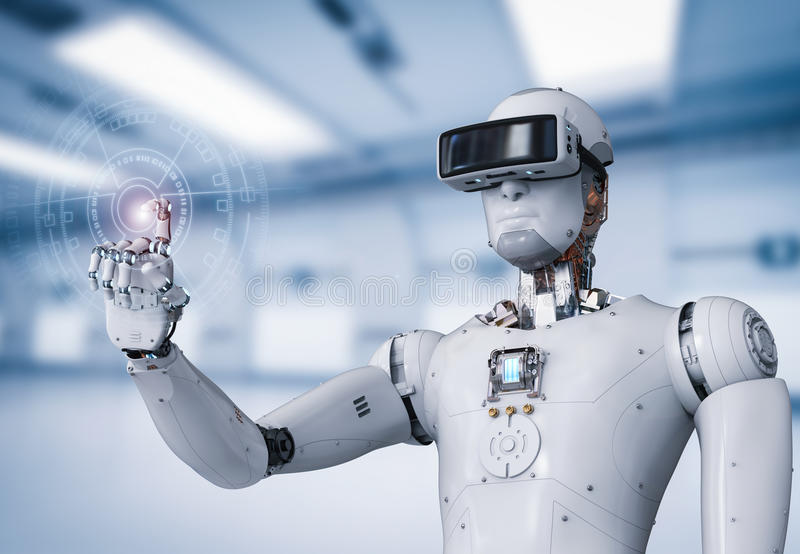 Android robot wearing vr headset stock image