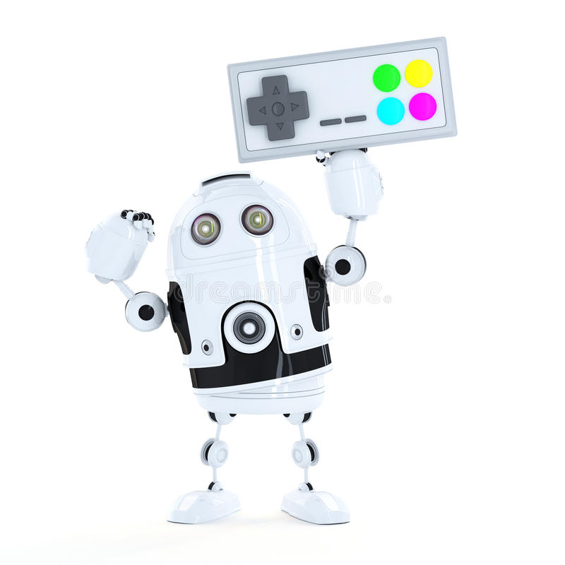 Android robot with a wireless game pad.