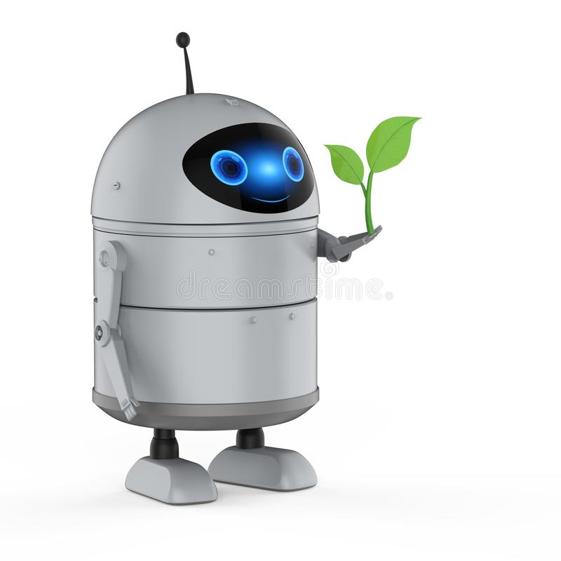 Free Android Robot With Green Leaves Stock Images - 164031254
