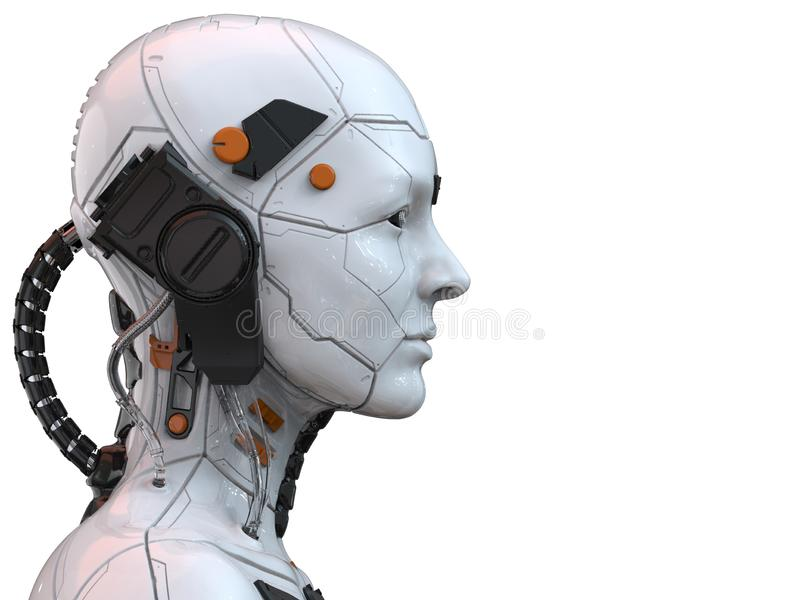 Android robota cyborga kobiety humanoid boczny widok - 3d rendering ilustracji