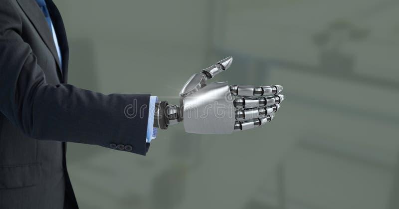 Android-Roboterhand offen mit grünem Hintergrund lizenzfreie stockfotografie