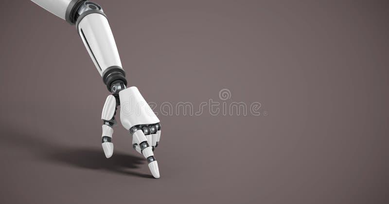 Android robothand som pekar med brun bakgrund royaltyfri illustrationer
