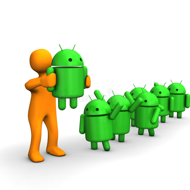 Android robots. A line of android robots stock illustration