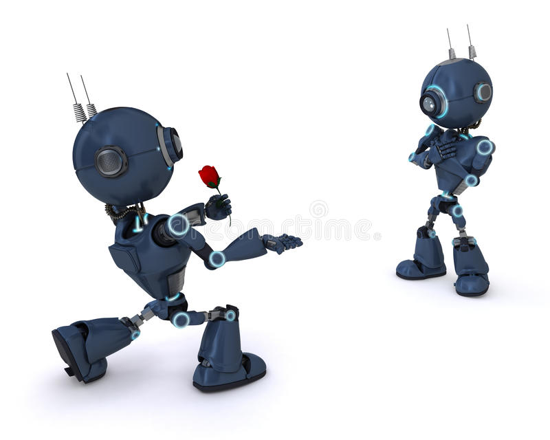 Android with Rose. 3D Render of an Android with Rose vector illustration