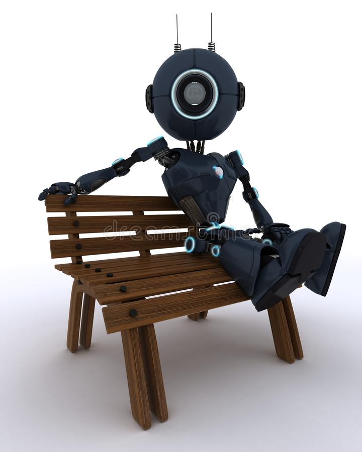 Android sat on park bench. 3D Render of an Android sat on a park bench vector illustration
