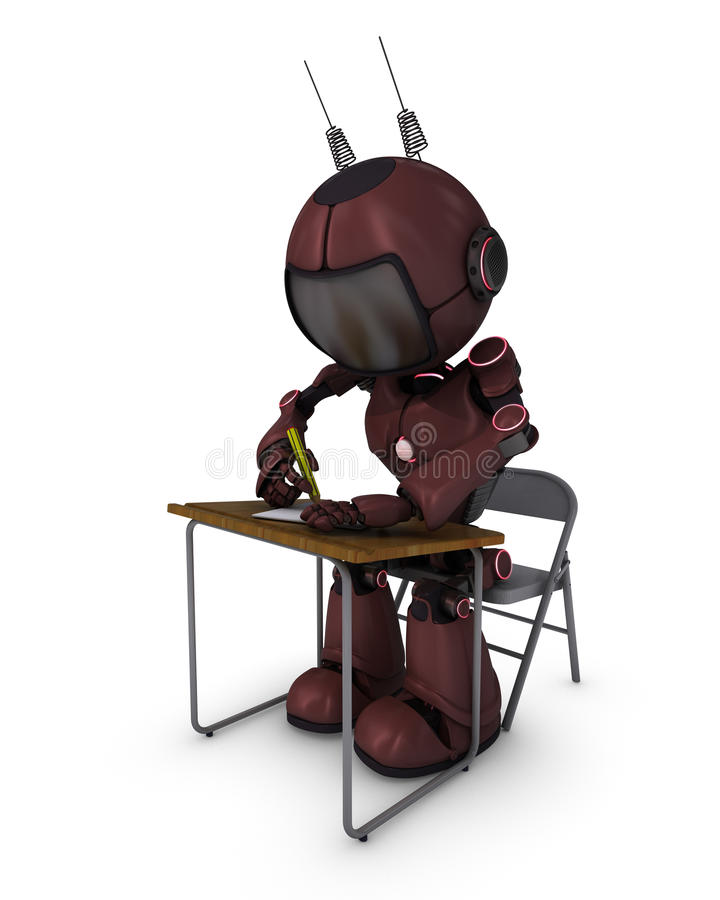 Android at school desk. 3D Render of an Android at school desk vector illustration