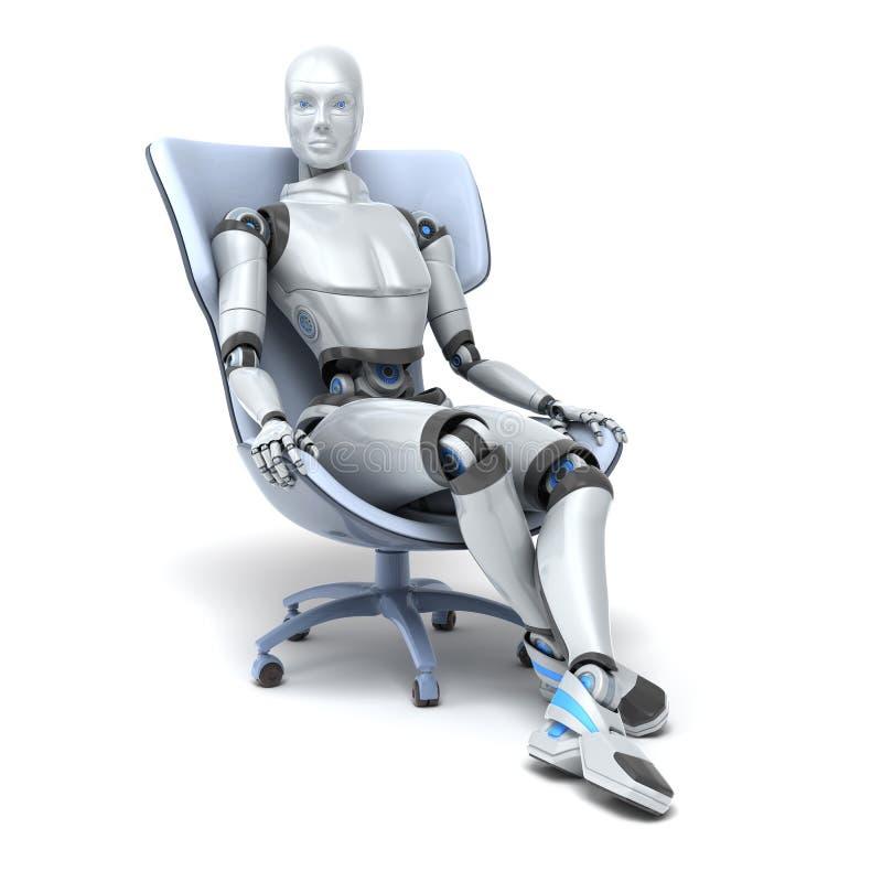 Android se repose dans une chaise illustration de vecteur