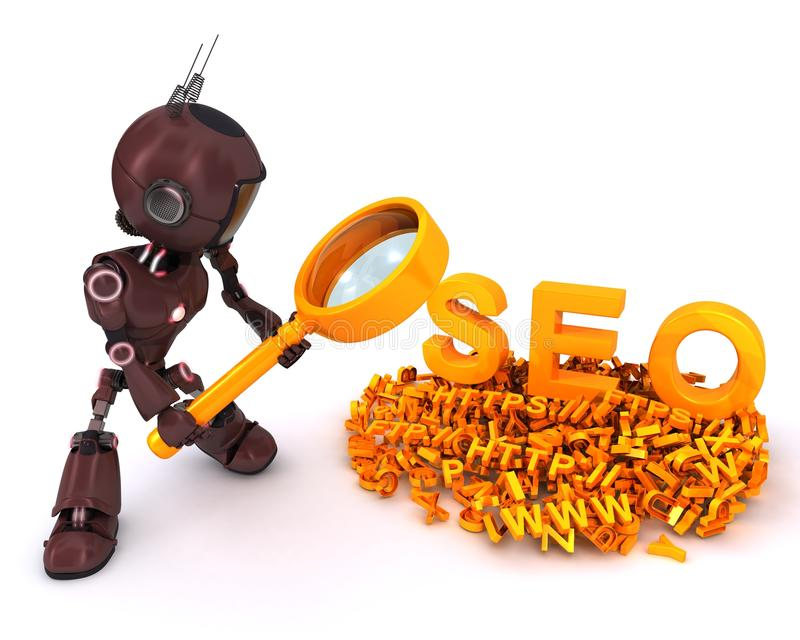 Android search engine optimisation. 3D Render of an Android search engine optimisation stock illustration