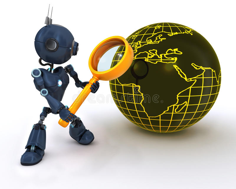 Android searching with magnifying glss. 3D Render of an Android searching with magnifying glass stock illustration