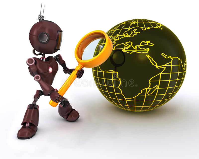 Android searching with magnifying glss. 3D Render of an Android seraching with magnifying glass vector illustration