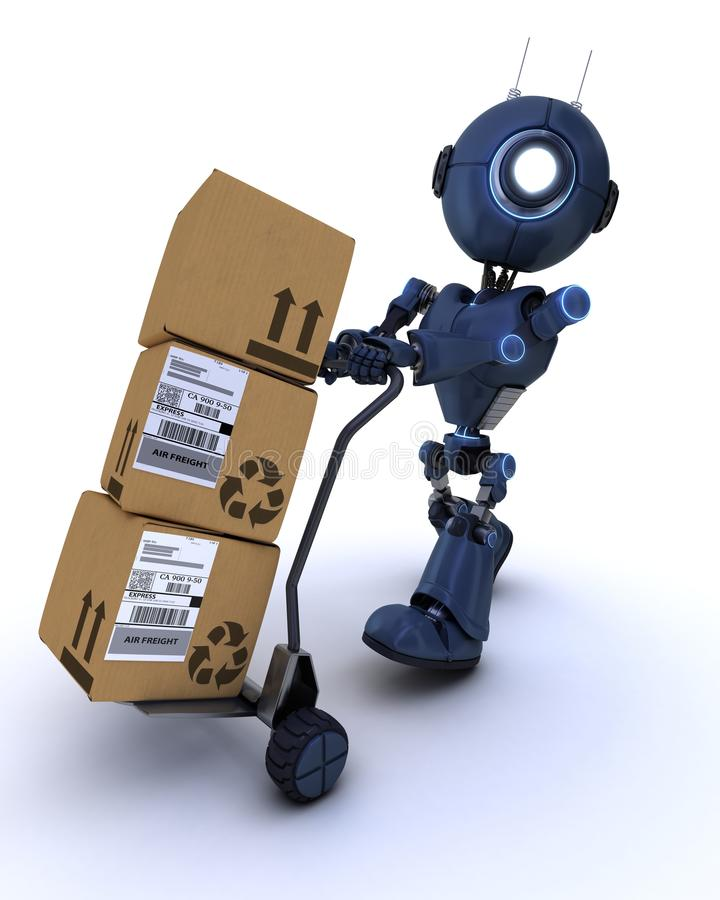 Android with shipping boxes stock illustration