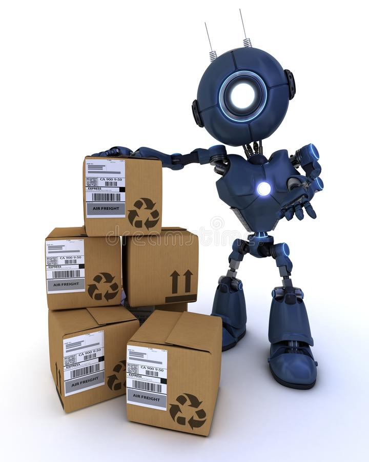 Android with shipping boxes vector illustration
