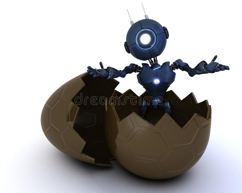 Android siedzący w Easter jajku ilustracja wektor