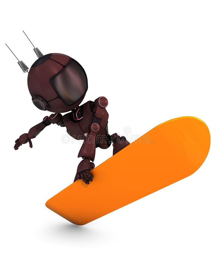 Android Snowboarder. 3D Render of an Android Snowboarder royalty free illustration