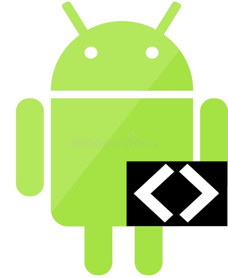 Android som kodifierar symbolen stock illustrationer