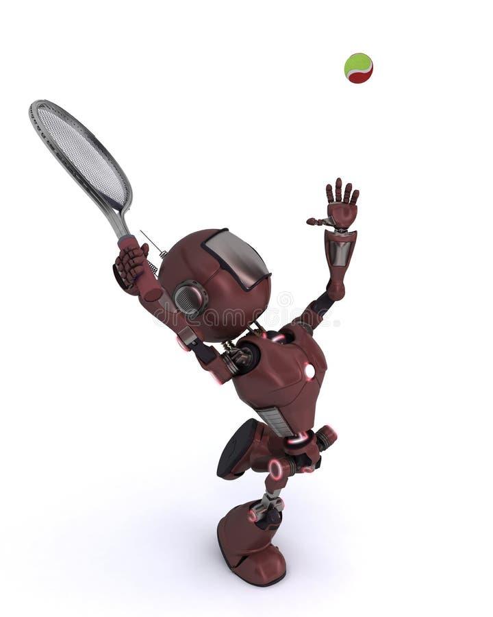 Android som spelar tennis royaltyfri illustrationer