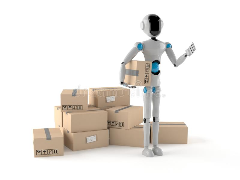 Android with stack of boxes stock illustration