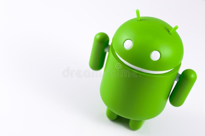 Android symbol figure on the white background. Android is the o. Perating system for smart phones, tablet computers, e-books, game consoles, and other devices royalty free stock photo