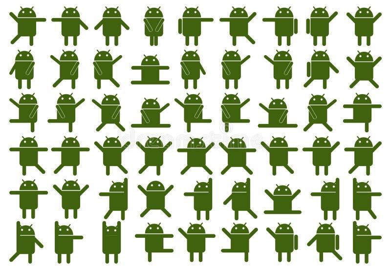 Android symboler stock illustrationer