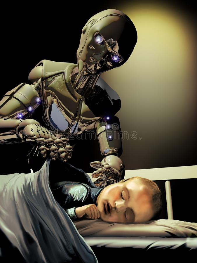 Android taking care of baby vector illustration