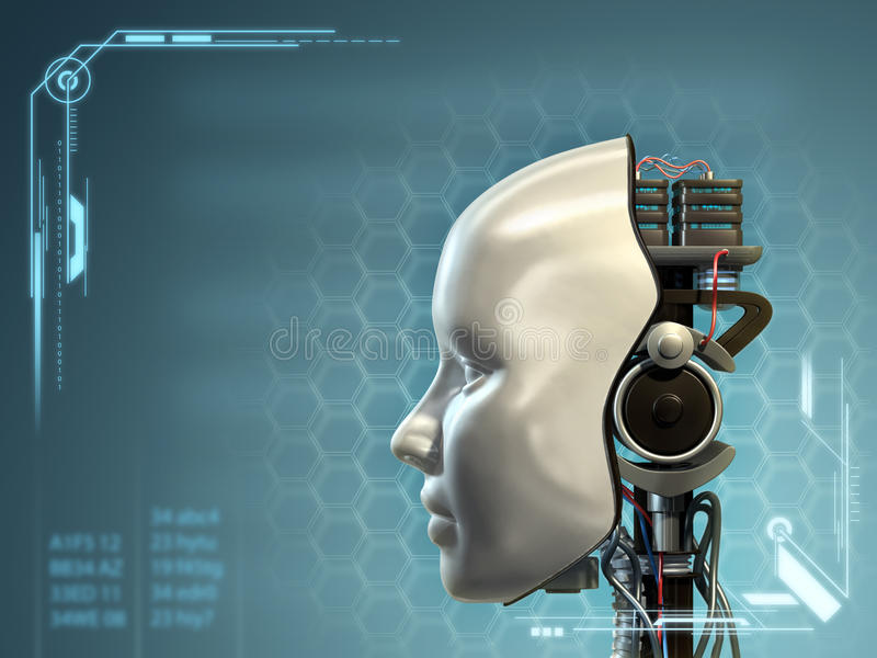Android technology. An android has part of his head mask removed, revealing its inner technology. Digital illustration