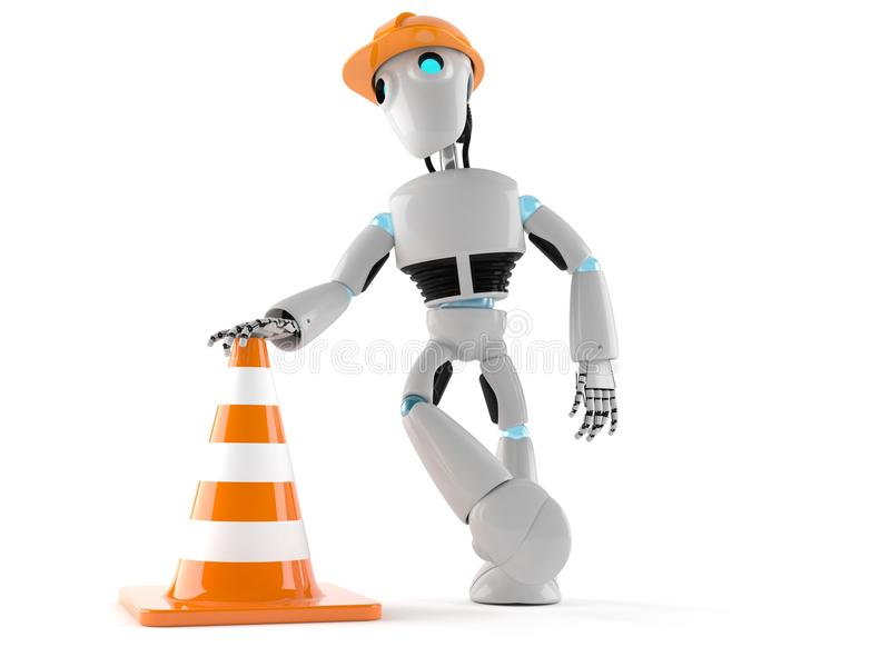 Android with traffic cone vector illustration