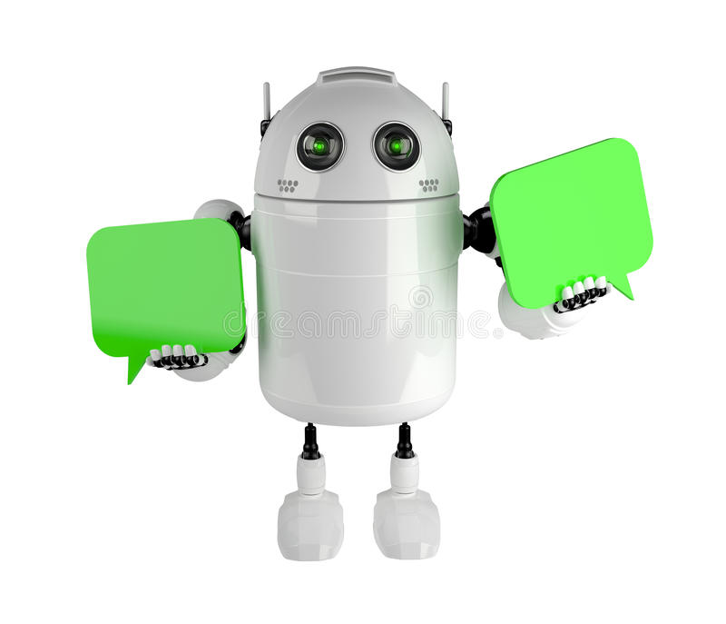 Android with two chat bubbles. Isolated on white stock illustration