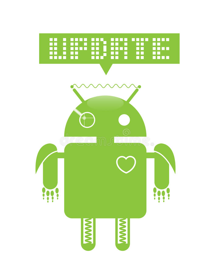 Android update. Android operating system update image royalty free illustration