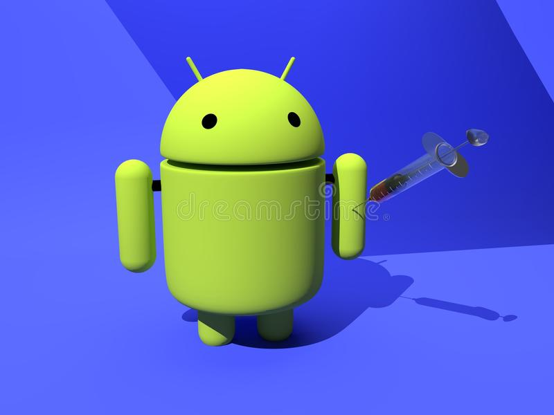 Android vaccine protection against malware, virus - 3D illustration royalty free illustration