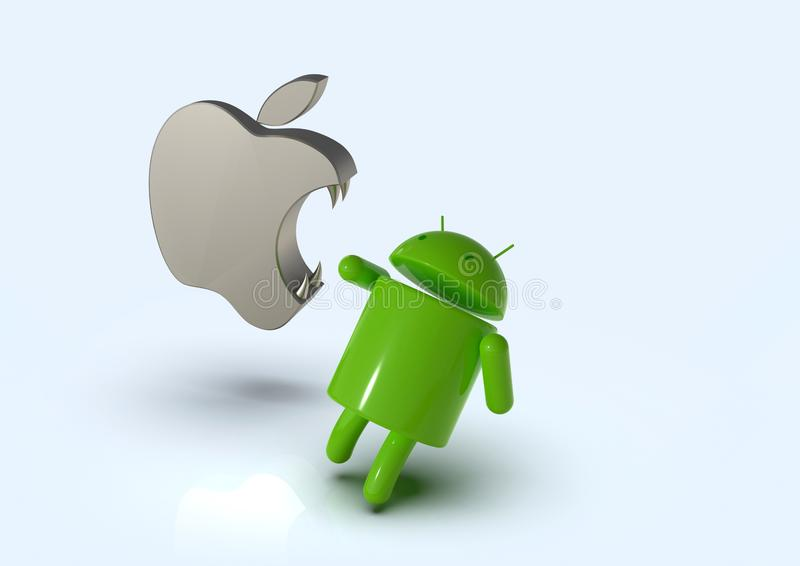 Apple iOS vs Android competition symbol - logo characters. Android versus Apple iOS - concept visual scene representing the Android and Apple logo symbols, as 3D royalty free illustration
