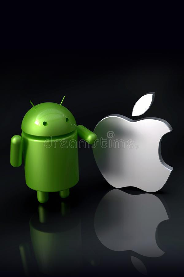 Android vs Apple iOS compared - logo characters. Android versus Apple iOS - concept visual scene representing the Android and Apple logo symbols, as 3D vector illustration