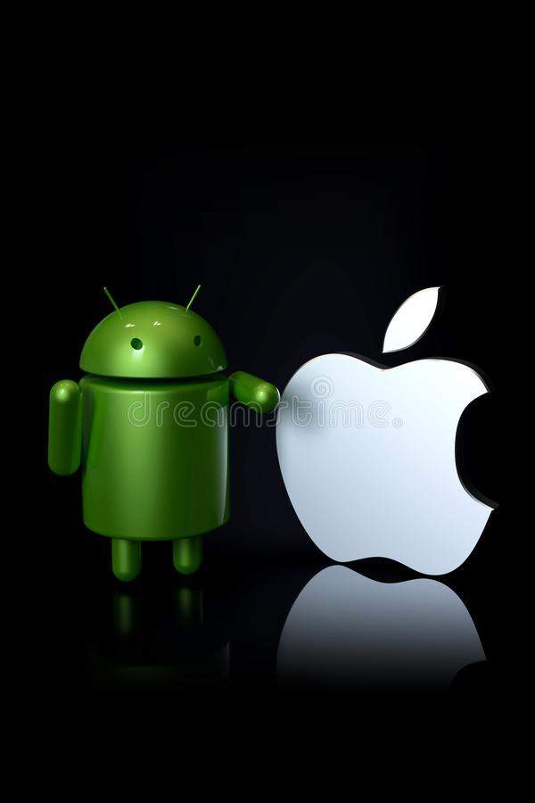 Android vs Apple iOS compared - logo characters. Android versus Apple iOS - concept visual scene representing the Android and Apple logo symbols, as 3D stock illustration
