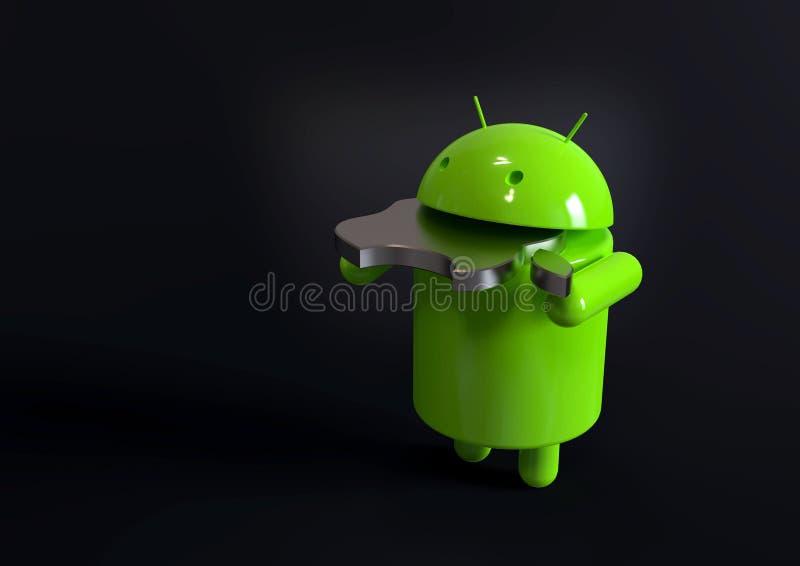 Android versus Apple-iOS de concurrentiesymbool - embleemkarakters stock illustratie