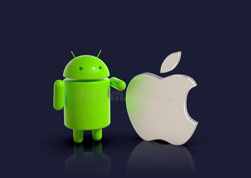 Android vs Apple iOS compared - logo characters. Android versus Apple iOS - concept visual scene representing the Android and Apple logo symbols, as 3D royalty free illustration