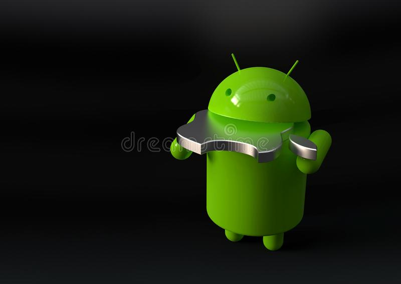 Android vs Apple iOS competition symbol. Android versus Apple iOS - concept visual scene representing the Android and Apple logo symbols, as 3D characters stock illustration