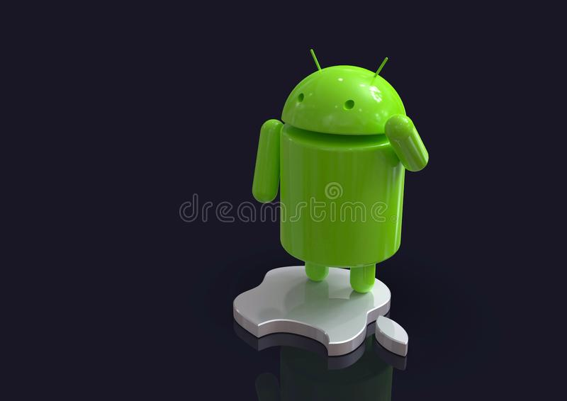 Android vs Apple iOS competition symbol - logo characters. Android versus Apple iOS - concept visual scene representing the Android and Apple logo symbols, as 3D royalty free illustration