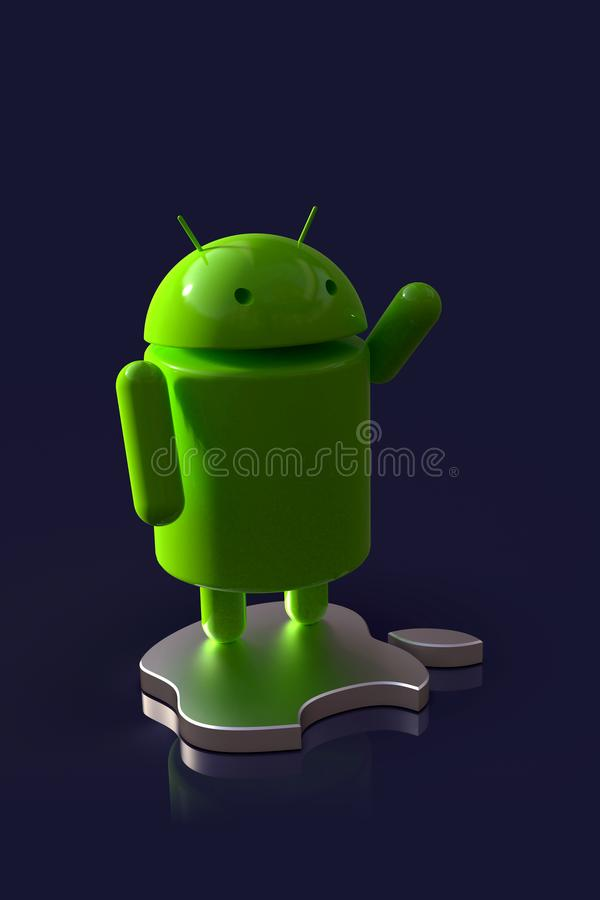 Android vs Apple iOS competition symbol - logo characters. Android versus Apple iOS - concept visual scene representing the Android and Apple logo symbols, as 3D stock illustration