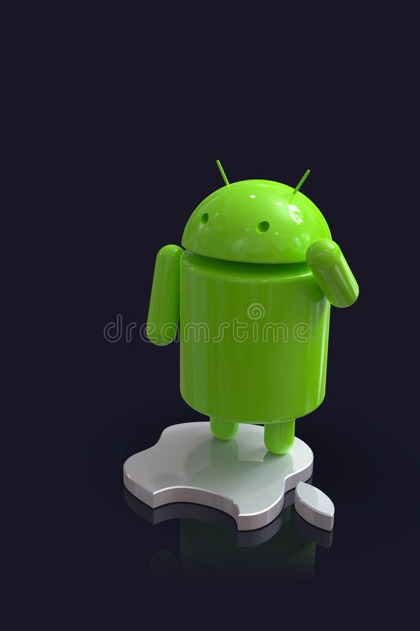 Android vs Apple iOS competition symbol - logo characters. Android versus Apple iOS - concept visual scene representing the Android and Apple logo symbols, as 3D vector illustration