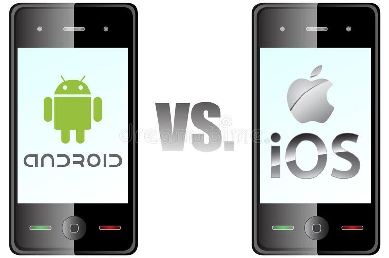 Android vs ios. A depiction of Google android vs Apple ios competition royalty free illustration