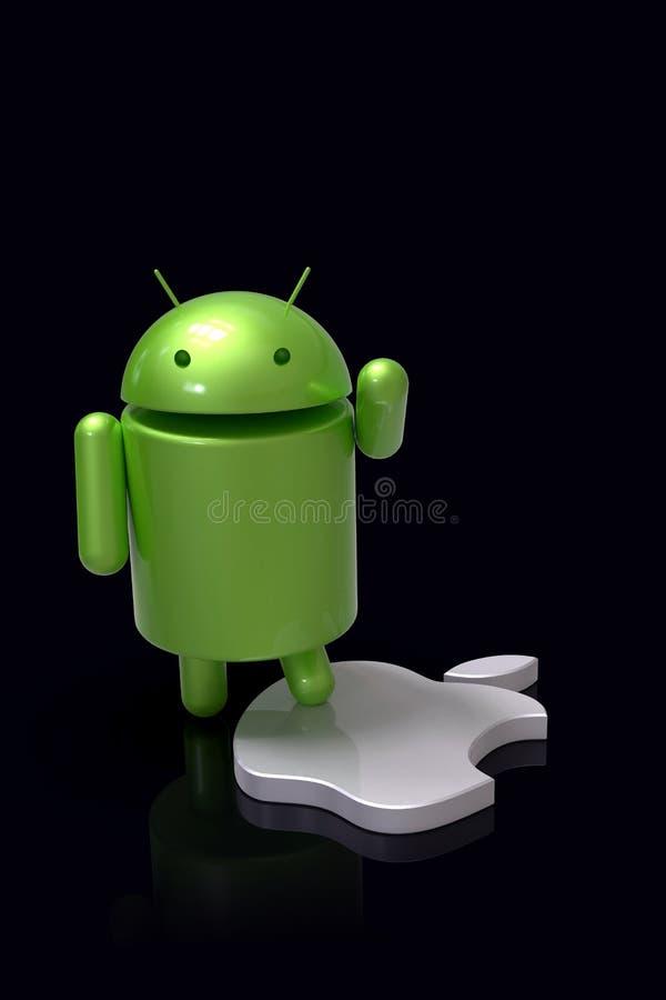 Android vs symbolet f?r Apple iOS-konkurrens - logotecken royaltyfri illustrationer