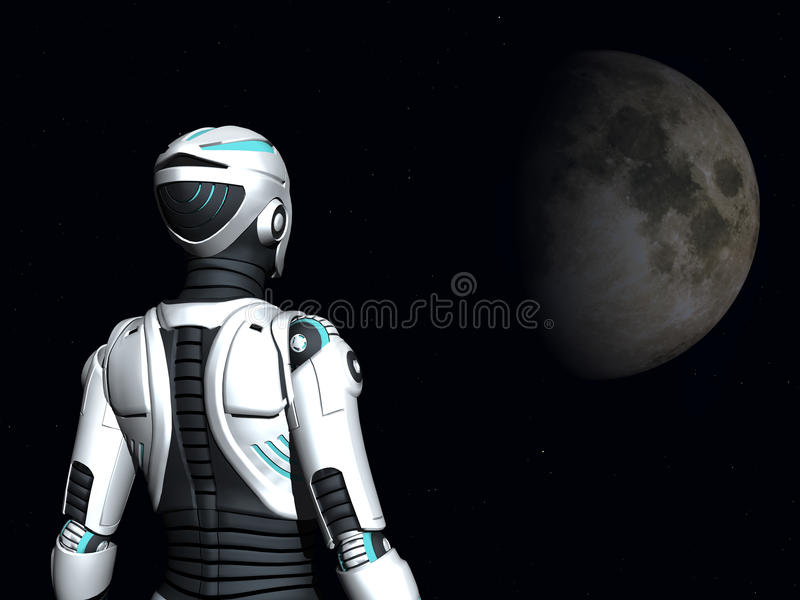 Android woman gazing into space. The back of an android woman, gazing out in space. Stars and a planet in the background stock illustration