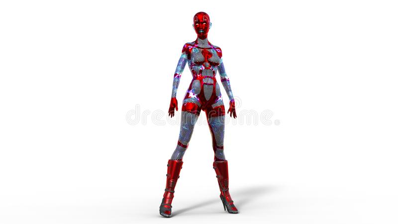 Android woman standing, female cyborg in armor isolated on white background, sci-fi girl, 3D render. Ing stock illustration